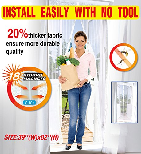 UTRAX Size 39X83 Hands Free Magnetic Curtain Door Retractable Screen Door Mosquito Net Mesh Guard Keep Bugs Insects Out (Pure White)