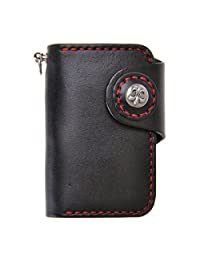 ZLYC Unisex Handmade Vegetable Tanned Leather Key Wallet Holder Card Case Keychain, Black