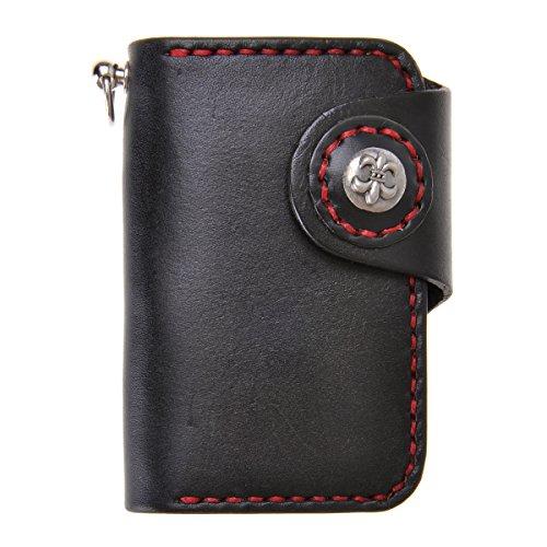 ZLYC Unisex Handmade Vegetable Tanned Leather Key Wallet Holder Card Case Keychain, Black