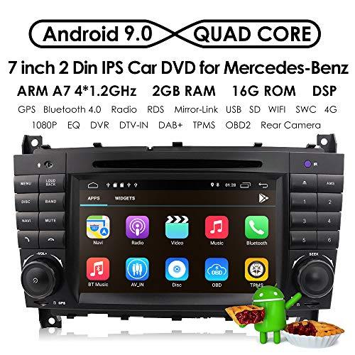 7 inch Dash Android 9.0 Car Stereo DVD Player 2 Din Head Unit GPS Navigation for Mercedes Benz C-Class W203 CLC Class CLC W203 CLK Class W209 Support GPS Sat Nav, DAB+, BT, RDS Radio, SWC, 4G WiFi