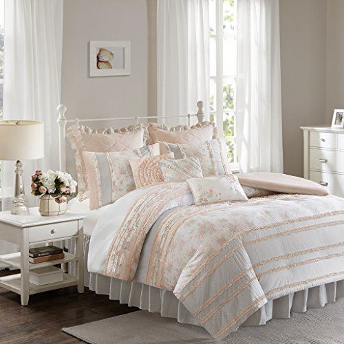 Madison Park Serendipity Duvet Cover Queen Size - Coral, Floral Duvet Cover Set - 9 Piece - 100% Cotton Light Weight Bed Comforter Covers