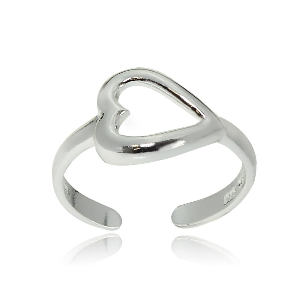 Hoops & Loops Sterling Silver Polished Open Heart Toe Ring