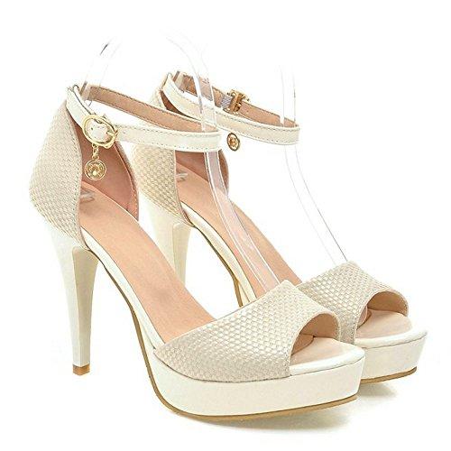 Coolcept Femmes Sexy Sandales Stiletto Plate-forme De Mariage À Talons Hauts Pompes Chaussures Beige