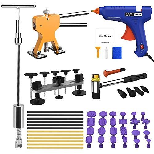 POWPDR Paintless Dent Repair Removal Tool Kit with Slide Hammer, Bridge Dent Puller, Golden Dent Lifter, 100W Glue Gun, Car Auto Body Dent Remover Device for Automobile Body Motorcycle Refrigerator ()