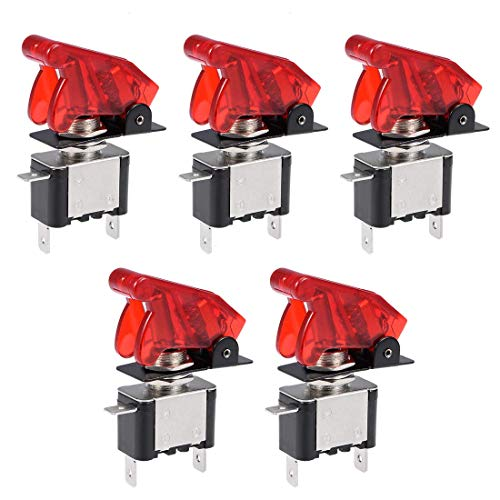 ZCHXD 5Pcs SPST Latching Rocker Toggle Switch Red LED Light 20A 12V 3P ON-Off with Red Security Cover