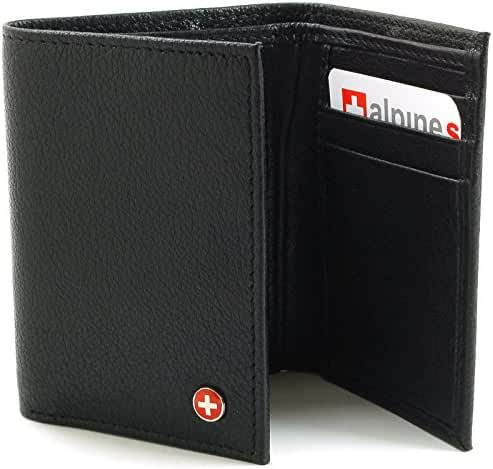 Alpine Swiss Men's Genuine Leather Trifold Wallet