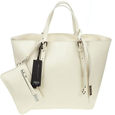 f460d230bfac GIANNI CHIARINI Italian Made Cream Leather Structured Tote with Wallet