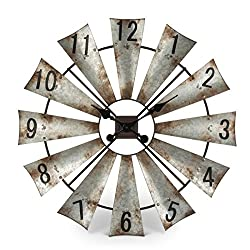 Rustic Metal Round Windmill Wall Clock 30