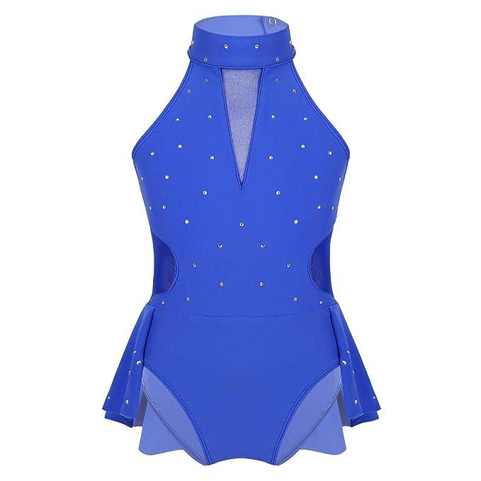 Agoky Vestido de Danza Ballet para Ni/ña Maillot de Patinaje Art/ístico Diamantes Body Leotardo de Baile Gimnasia R/ítmica con Falda Disfraz Bailarina