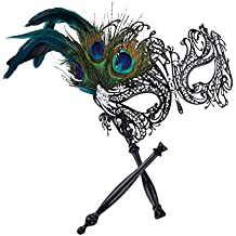 Coxeer Masquerade Mask on Stick Halloween Costume Mask Hollow Out Metal Mask