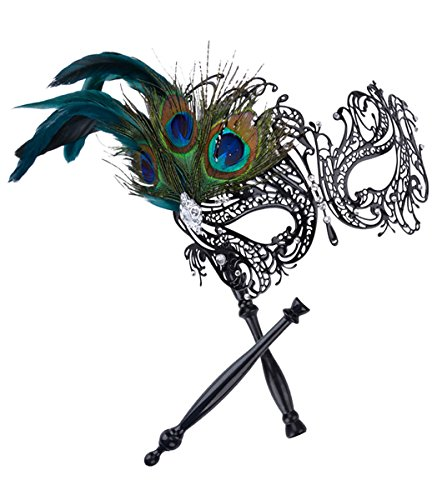 (Coxeer Masquerade Mask on Stick Black Halloween Costume Metal Mask for Women)