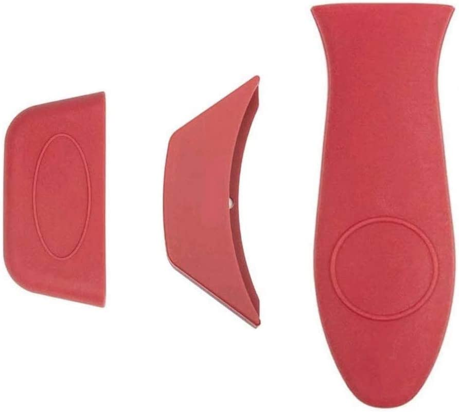 ManLee 3 Pack Silicone Hot Handle Holder Hot Mitts Assist Holder Non Slip Heat Protecting Handle Cover for Cast Iron Skillets Frying Pans & Griddles Metal and Aluminum Cookware Handles (Red)