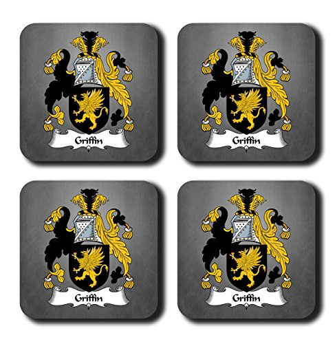 (Griffin Coat of Arms/Family Crest Coaster Set, by Carpe Diem Designs - Made in the U.S.A.)