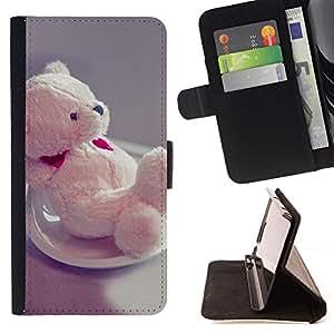 - Cute Teddy Bear Heart - - Prima caja de la PU billetera de cuero con ranuras para tarjetas, efectivo desmontable correa para l Funny HouseFOR Samsung Galaxy S6