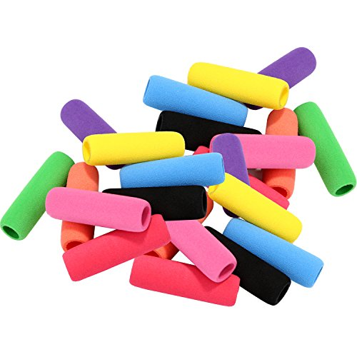 Sumind 30 Pieces Pencil Grips Writing Aid Pencil Holder Pencil Gripper for Kids Students, Assorted Colors, 1.57 Inches Long