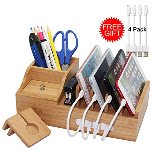 Pencil Harvest (Bamboo Charging Station Organizer for Multiple Devices iPhone iPad Apple Watch, Office Desktop Wood Docking Stations (Include 4 x Charger Cable), Storage Box Stand for Pen, Key, Knife - Pezin & Hulin)