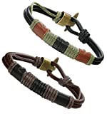 Besteel Alloy Vintage Leather Bracelet for Men Wrist Wraps Genuine Leather Rope Bracelet Set, 8.5 inches