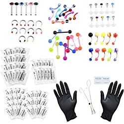PiercingJ Body Piercing Kit 20G 16G 14G (Belly Button,Tongue, Eyebrow, Nipple, Lip, Nose, Chin) Gauge Piercing Needles