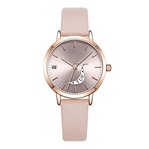 Reloj para mujer 2018 nueva tendencia de moda impermeable calendario semana reloj: Amazon.es: Relojes