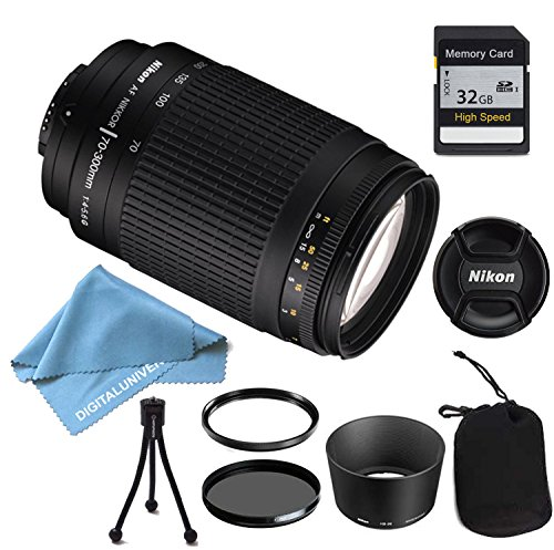 Nikon 70-300 mm f/4-5.6G Zoom Lens with Auto Focus for Nikon DSLR Cameras PLUS LENS CLEANING KIT AND TRIPOD AND 32GB MEMORY CARD by DigitalUniverse
