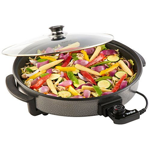 VonShef Large Multi Cooker 42cm Diameter 1500W with Glass Lid, Non-Stick...
