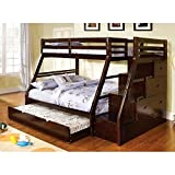 1PerfectChoice Ellington Twin/ Full Bunk bed Twin Trundle Built in Storage Staircase Stairway