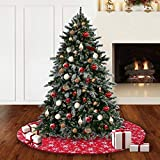 S-DEAL 48 Inches Christmas Tree Skirt Double Layers Red and White Snow Carpet for Party Holiday Decorations Xmas Ornaments