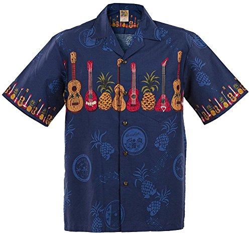 WinnieFashion Hawaiian (100% Cotton) Elegant Ukulele Shirtin Blue (L)