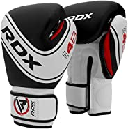 RDX Kids Boxing Gloves, 6oz 4oz Junior Training Mitts, Maya Hide Leather Ventilated Palm, Muay Thai Sparring M