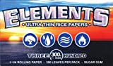 ELEMENTS 300 Ultra Thin Rice Rolling Paper 1.25 1 1/4 Size, 5 Pack = 1500 Leaves