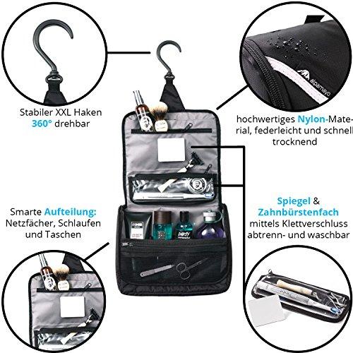 ALPAMAYO® Kulturbeutel mit separatem, waschbaren Zahnbürstenfach und Spiegel, Kulturtasche zum Aufhängen, schwarz