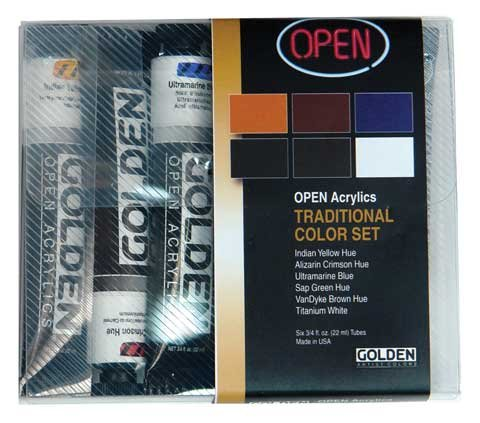 Golden Open Acrylic Set of 6 22 ml Tubes - Traditional Color