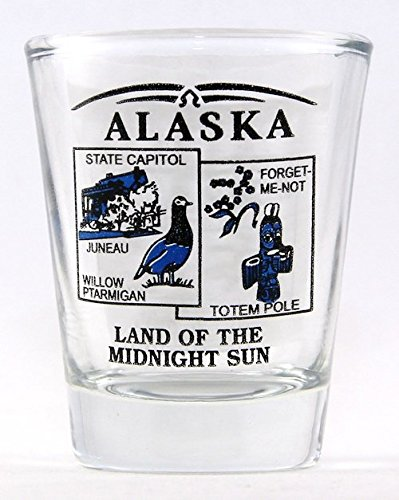 Alaska State Scenery Blue New Shot Glass - Alaska Glass