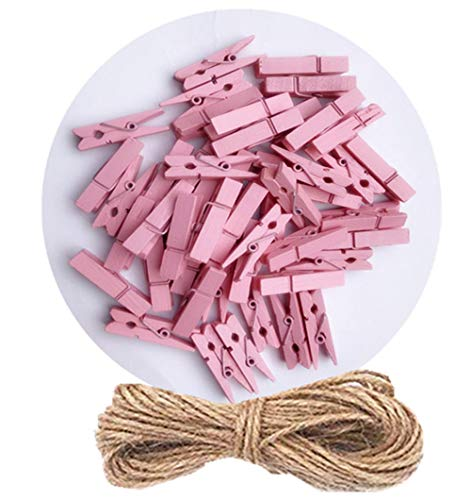 DurReus Tiny Clothes Pins Colorful Hang Up Photographs Drawings Party Clips Decor Baby Shower Game with Twine Pack 50 Pink