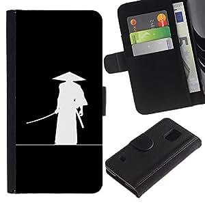 Paccase / Billetera de Cuero Caso del tirón Titular de la tarjeta Carcasa Funda para - Minimalist Japanese Samurai Katana Warrior - Samsung Galaxy S5 V SM-G900