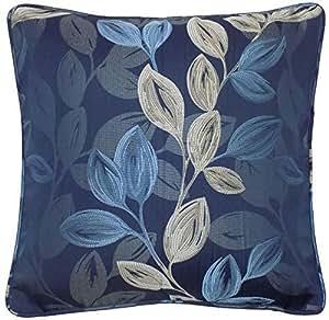 "Relleno Boreal azul plata floral hoja Jacquard cojín de 17"""