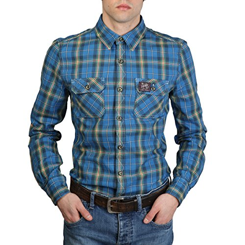Superdry MS4HE003F8_BLUE_YELLOW Slim Herren Hemd Freizeithemd Langarm Shirts, Gr. S