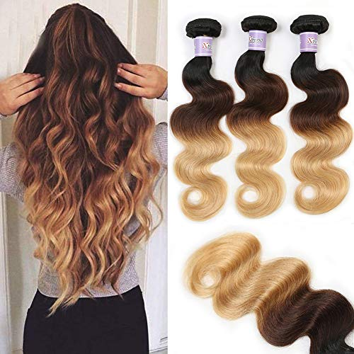 Summer Hair Beach Waves - Xtrend Brazilian Virgin Hair Body Wave Bundles 3pcs 8A Human Hair Extensions Weave Three Tone Ombre Black to Light brown To blonde Color(22 24 26)