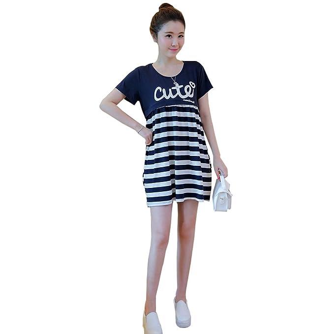 XFentech Mujer Embarazo Vestido Lactancia - Moda Cómodo Raya Premamá Blusa Maternidad Camiseta Vestidos Verano,