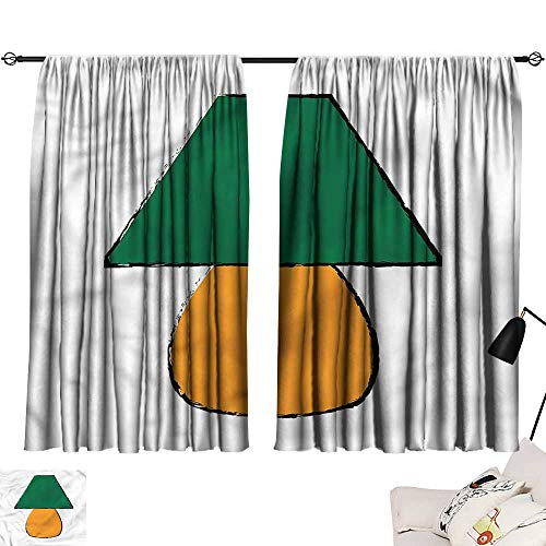 Denruny Customized Curtains Green and Orange,Desk Furniture 84