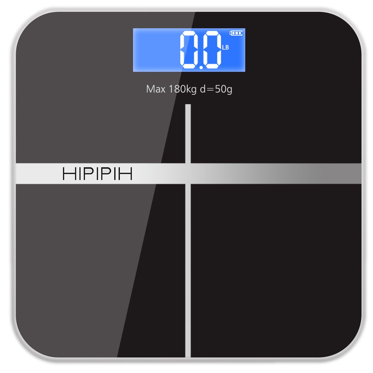 Hippih Smart Weigh Body Digital Precision Scale with Step-On Technology Easy-to-Read Measures Weight 400lb/180kg AAA Glass Square 006 (Black)