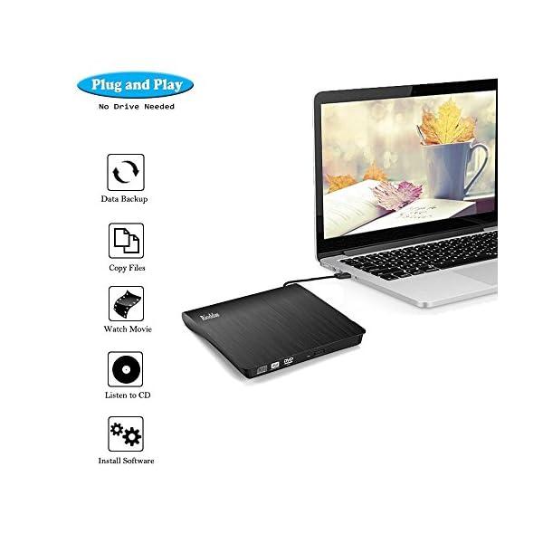 Rioddas External CD Drive USB 3.0 Portable CD/DVD