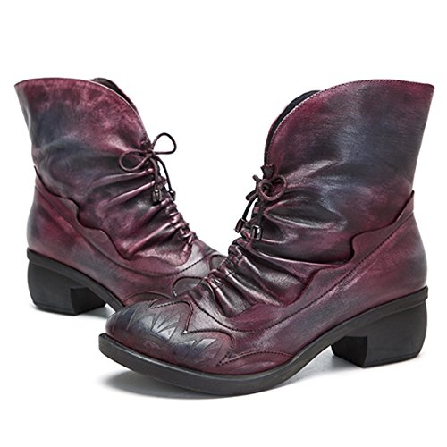 Oxford Bootie Socofy Red Ankle Boots Up Shoes Boot Vintage Lace Handmade Ankle Women's Leather TBPBF
