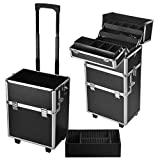 3 in 1 Pro Aluminum Rolling Makeup Case Salon Cosmetic Organizer Trolley