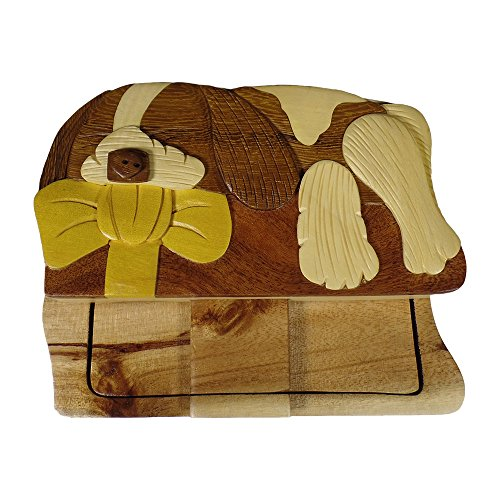 Dog with Bow Puppy Sleeping hand-carved puzzle box with No Paints! No Stains! Hidden felt lined interior that hides jewelry, gift cards, or money. No two will ever be identical! ()