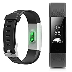 Fitness Tracker, NewYouDirect Heart Rate Monitor Pedometer Activity Tracker Smart Watch Wrist Band with Sleep Monitor Calorie/Step Counter Bluetooth 4.0 for Android IOS (Black)
