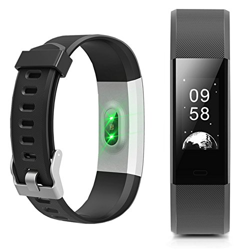 Fitness Tracker - NewYouDirect Heart Rate Monitor Pedometer Activity Tracker Smart Watch Smart WristBand with Sleep Monitor Calorie Step Counter Bluetooth 4.0 Tracker for Android IOS (Black)
