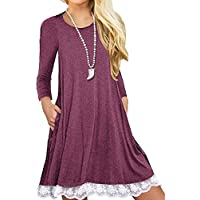 Miskely Women's Long Sleeve Lace Tunic Dress with Pocket Casual Loose Fit Cotton Swing Dress for Legging