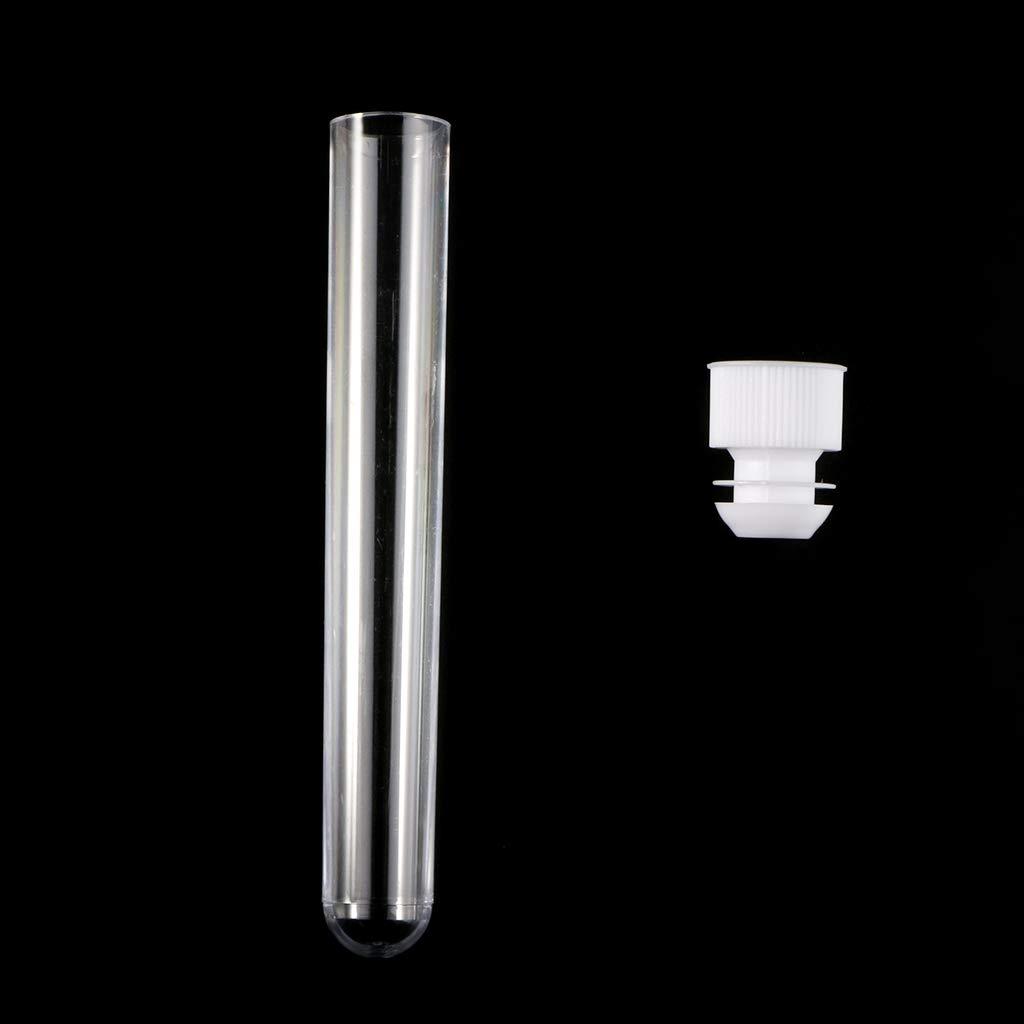 10Pcs//Pack 15x100mm Transparent Plastic Test Tubes Lab Test Tool with Screw Cap