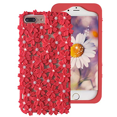 Crazy Panda - CRAZY PANDA iPhone 8 Plus Case 7 Plus 6 Plus Case, Soft Silicone Screen Protectve Case 3D Hollow Out Cherry Blossom with Bling Rhinestones Anti-Dirty - Red